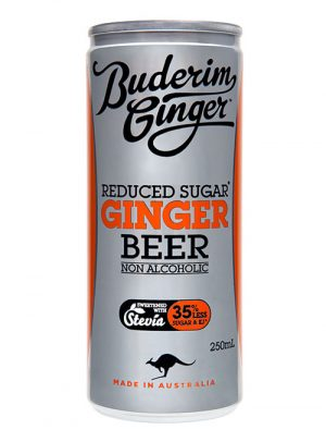 Buderim Ginger Reduced Sugar Ginger Beer Nonalcoholic Drink Can 250ml